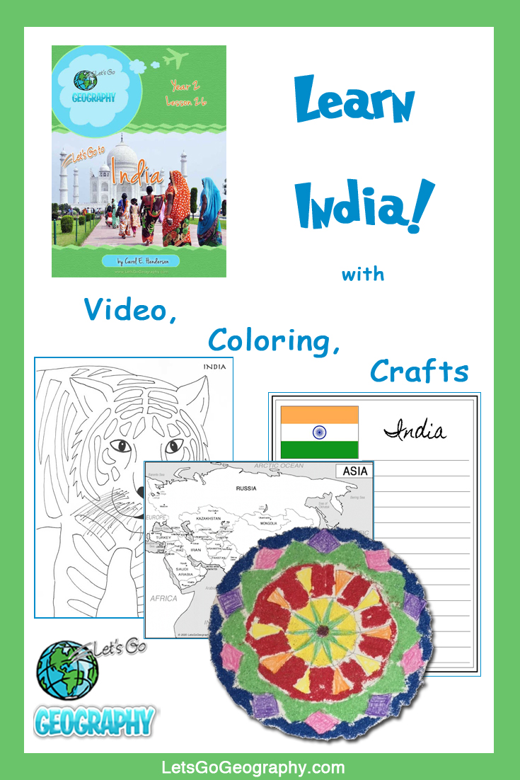 Learn India the fun way with video, coloring, crafts, and more! Kids love geography with all the activities in Let's Go Geography.
