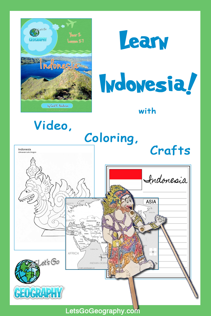 Learn Indonesia the fun way with video, coloring, crafts, and more! Kids love geography with all the activities in Let's Go Geography.
