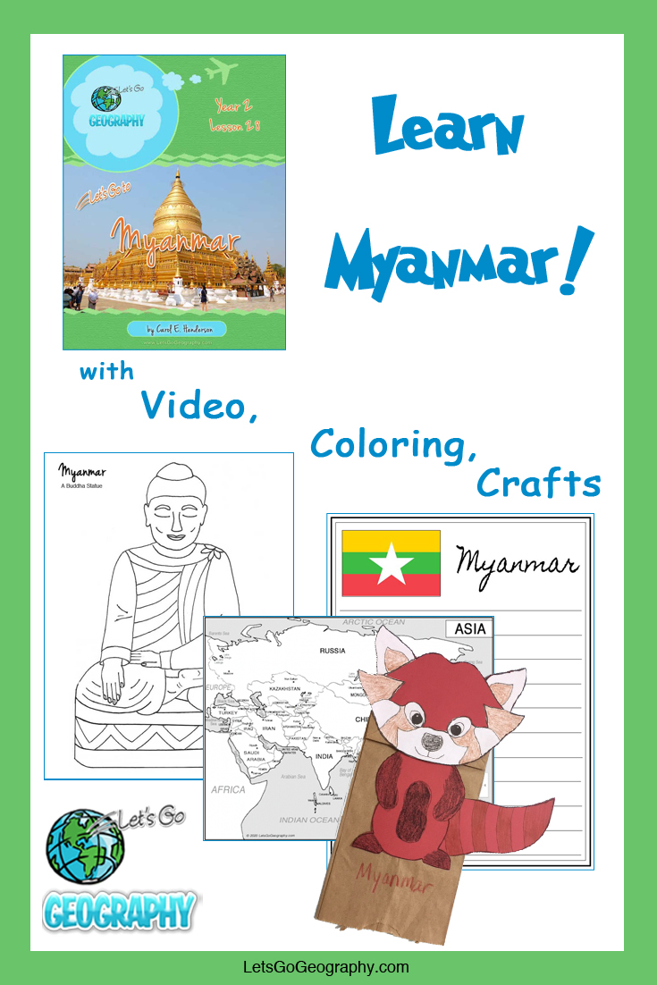 Learn Myanmar the fun way with video, coloring, crafts, and more! Kids love geography with all the activities in Let's Go Geography.